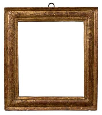 7792  Kassettenrahmen, Ende 16.Jh., Pinienholz vergoldet, 34,4 x 29,1 x 6 cm