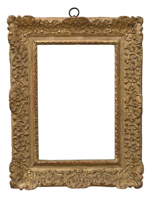 2250  Louis XIV Rahmen, Eiche geschnitzt und vergoldet, 28 x 18,5 x 6,8 cm