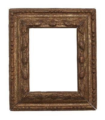 0525  Manieristischer Rahmen, Piemont 16.Jh., geschnitzt und vergoldet, 14,7 x 10,9 x  4,5 cm