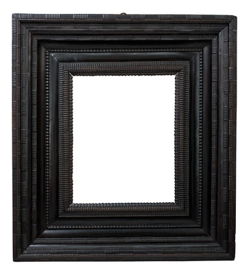 8425  Wellenleisten Rahmen, Niederlande 17.Jh., Birne ebonisiert, 51 x 40 x 23,3 cm