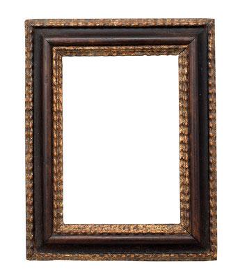 0562  Kabinett Rahmen, 17.Jh., Weichholz mit Birnenholz furniert und vergoldeten  Wellenleisten, 13,2 x 9,1 x 3 cm