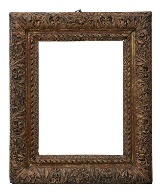 9180  Louis XIII Rahmen, Eiche geschnitzt und vergoldet, 40,5 x 30,3x 10 cm