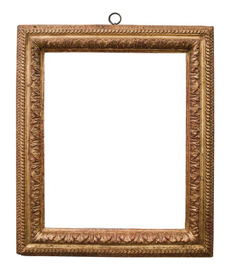 2222  Louis XIII Rahmen, Eiche geschnitzt und vergoldet, 41,8 x 33 x 6,9 cm