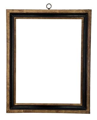 9184  Louis XVI Rahmen, Weichholz profiliert, geschwärzte Platte und vergoldet, 47,2 x 36,5 x 5 cm