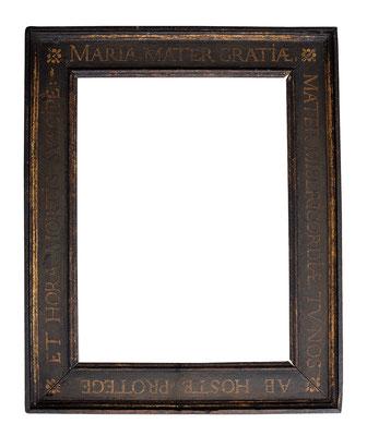 0952  Kassettenrahmen, Flandern 16./17.Jh, Eiche schwarz gefasst mit Goldmalerei, 39,3 x 28,7 x 7 cm