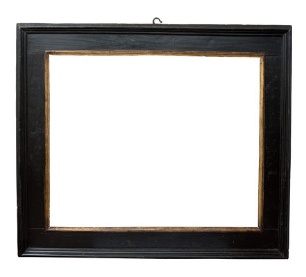 0836  Kassettenrahmen, Toskana 16./17. Jh., Pappelholz schwarz gold, 95 x 116 x 18 cm