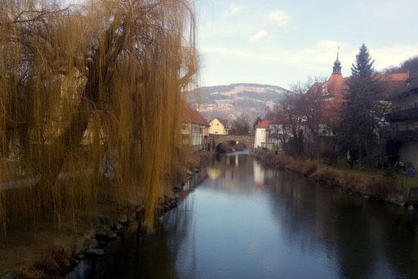 Die Lavant und die Fleischerbrücke in Wolfsberg