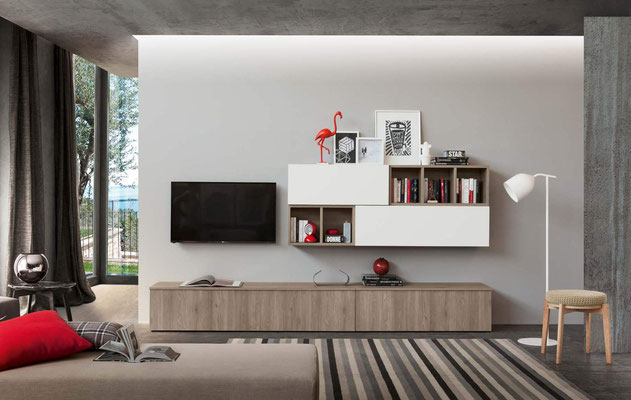 Mobile per soggiorno (articolo IN4), realizzabile su misura con colori e finiture personalizzabili (misure foto: Larghezza cm.300, Profondità cm.45/34, Altezza cm.150)