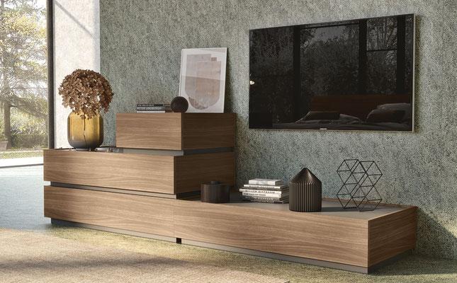 Mobile per parete soggiorno con cassetti, realizzabile su misura, finiture e colori a scelta