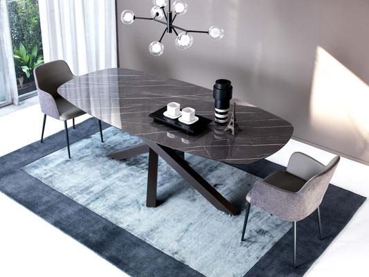 Articolo D19 - Tavolo fisso con forma ellittica (sagomata), materiali a scelta, realizzabile anche su misura