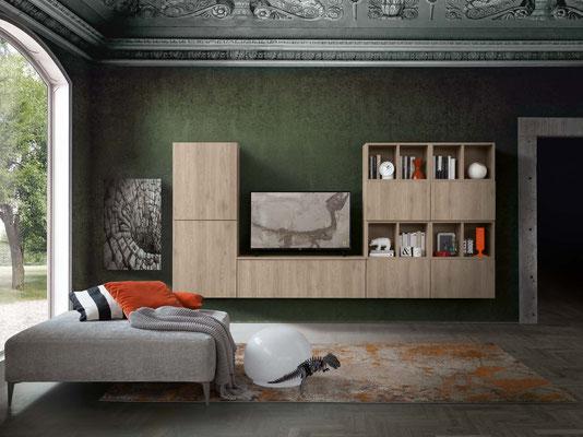 Mobile per soggiorno (articolo IN8), realizzabile su misura con colori e finiture personalizzabili (misure foto: Larghezza cm.300, Profondità cm.35, Altezza cm.180)