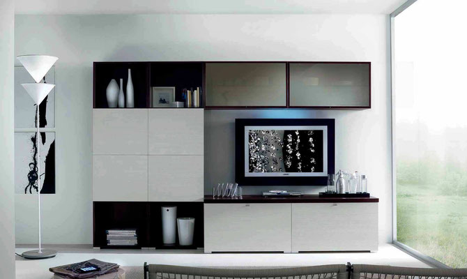 Articolo M56 - Mobile per soggiorno (Larghezza cm.300, Profondità base cm.59, Profondità pensili cm.34, Altezza cm.202) finiture e colori a scelta, realizzabile anche su misura