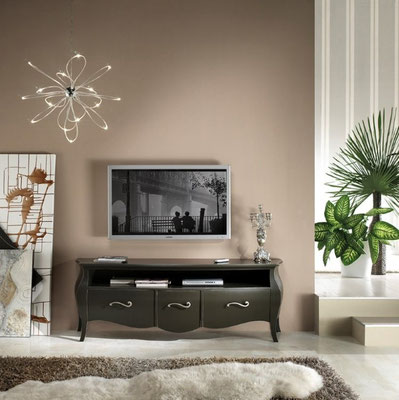 Articolo 53268 - Porta TV bombato con 3 cassetti (Larghezza cm.176, Profondità cm.45, Altezza cm.62)
