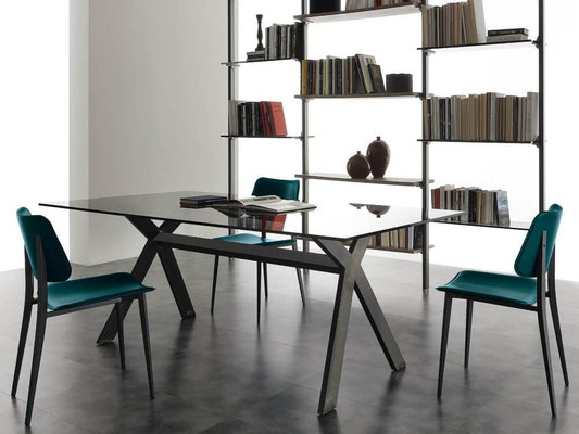 Tavolo ARTAX fisso o allungabile, realizzabile su misura, materiali a scelta