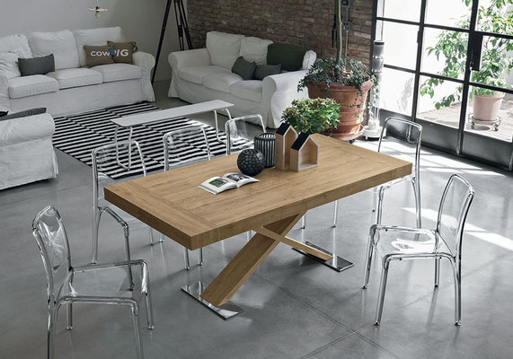 Tavolo allungabile ATLANTIDE, struttura in legno, piano ed allunghe in effetto legno, misure disponibili: cm.160x90 + 2 allunghe da cm.40 oppure cm.180x90 + 2 allunghe da cm.50