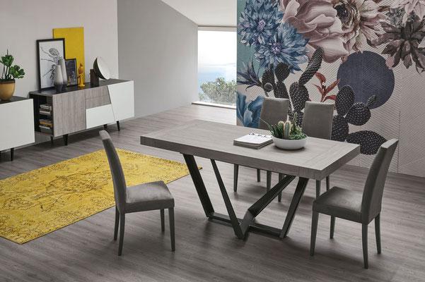 Tavolo PEGASUS allungabile in effetto legno (colori e finiture a scelta), misure cm.160x90 + 2 allunghe oppure cm.180x90 + 2 allunghe