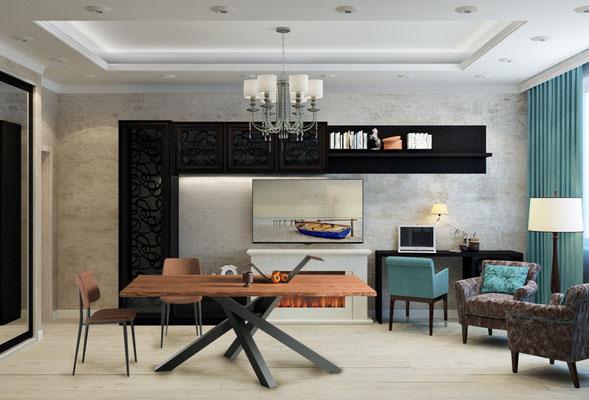 Articolo D19 - Base in metallo verniciato, piano in legno massello, realizzabile su misura, anche allungabile