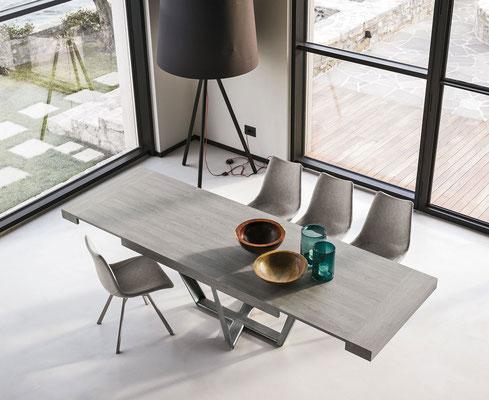Tavolo PEGASUS allungabile in laminato effetto legno (colori e finiture a scelta), misure cm.160x90 + 2 allunghe oppure cm.180x90 + 2 allunghe