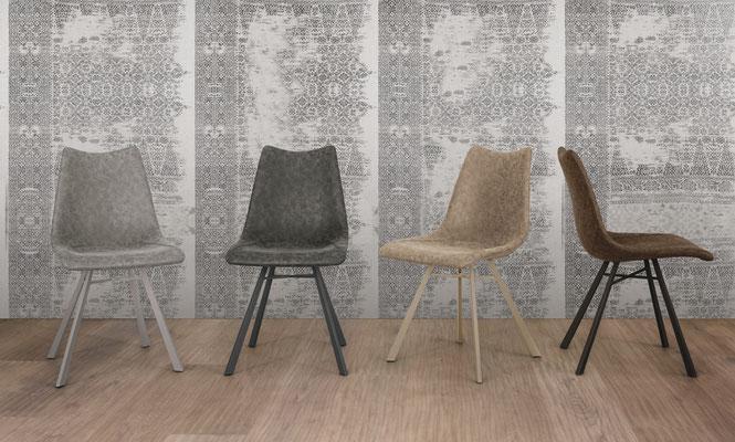 Sedia imbottita con struttura in metallo verniciato, rivestimento a scelta (articolo MR40)