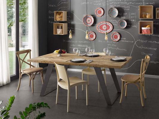 Articolo PT 0015 - Tavolo in legno naturale, disponibile su misura, anche allungabile