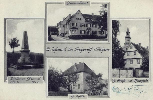 markante Stellen im Dorf - vor der Eingemeindung 1939, verschickt 1942. Als Schulhaus diente damals das Schlösschen Monplaisir am Rand der Eremitage.