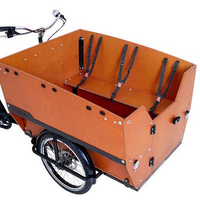 Babboe Max-E Lastenfahrrad 2020 mit Sicherheitsgurten für Kinder