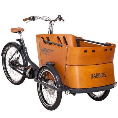 Babboe Lastenfahrrad mit Elektromotor Carve Mountain in einem braunen einzigartigen Design