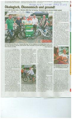 Zeitungsbericht zum e-Bike Wochenende in Worms mit e-motion!