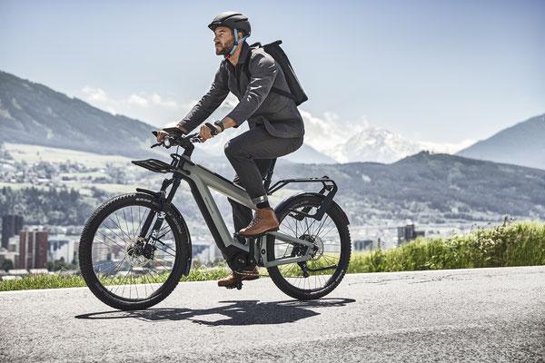 SUV e-Bike von Riese & Müller mit Gepäckträger
