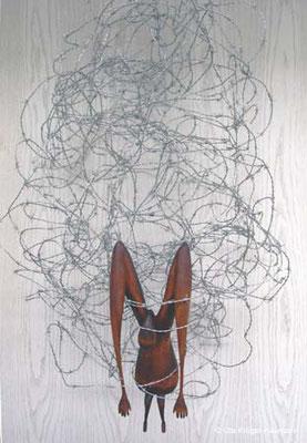 o. T. Lindenholz, Beize, Stacheldraht, 135  x 75  x 58 cm
