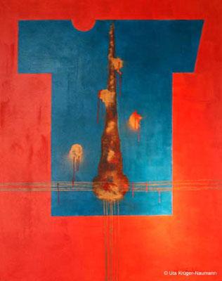 o.T. Acryl, Pigment, Chinesisches Büttenpapier a. L., 190 x 150 cm