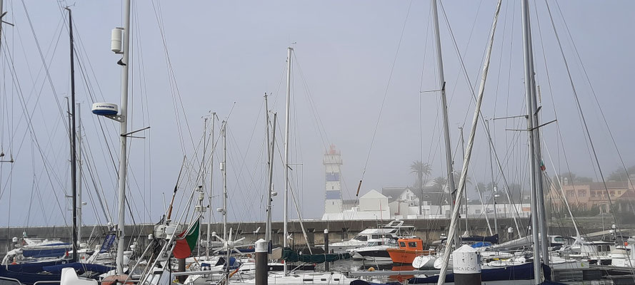 Herienziehender Nebel in Cascais Hafen