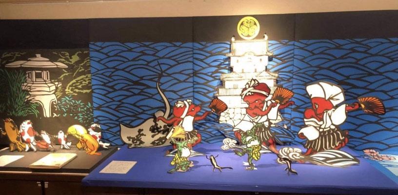チヨさんの作品です。切り絵にあるお城は高松城です。 This is one of Mr Chiyo's artwork. It is Takamatsu castle in Kagawa prefecture.