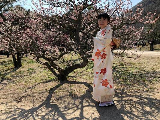 梅の花と、お母様から受け継がれた振袖の柄がとても似合ってます。Riko inherited this furisode kimono (long sleeve kimono) from her mother. The kimono pattern matches well with the blooming plum tree.