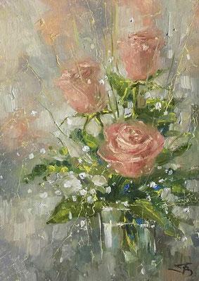 Розы. х/м. 30х21