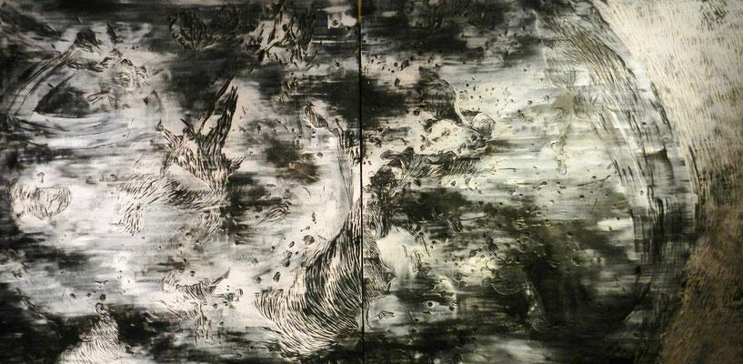 """Struggle"" / 36"" x 72"" x 0.6"" (91cm x 182cm x 1.4cm) / Black ink and acrylics on carved wood / 2019"