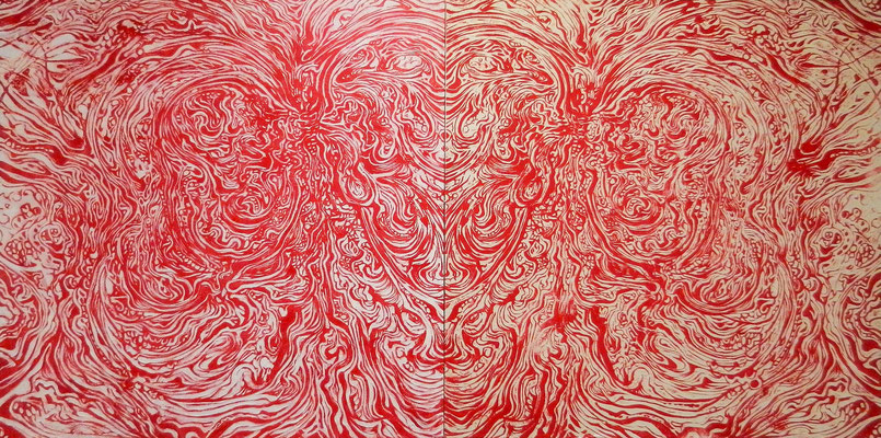 """Euphoria01"" / 36"" x 72"" x 0.6"" (91cm x 182cm x 1.4cm) / Carved wood & woodcut print / 2017"