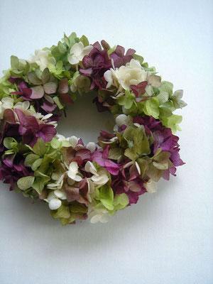 紫陽花のリース 参考価格:¥4,000-(税抜)