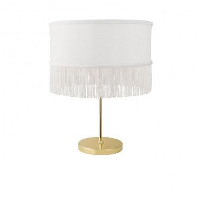 Lampe à franges Blanc & Or - Bloomingville / en vente chez Fleux