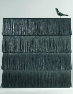 """Armoire, structure et étagères en métal laqué époxy, L140xP40xH140cm, """"Brosse"""", Design Sempé, Moustache-2700€"""