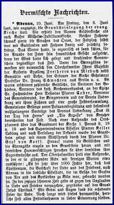 Bericht zur Grundsteinlegung, 11.Juni 1913
