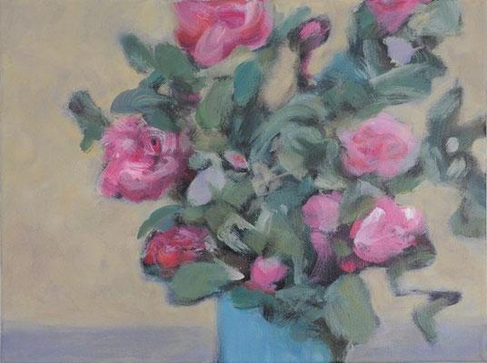 "11. Dezember 2020 - ""Blumen rosa, Vase blau"" - gemalt 2017 (heute mal als Joker)"