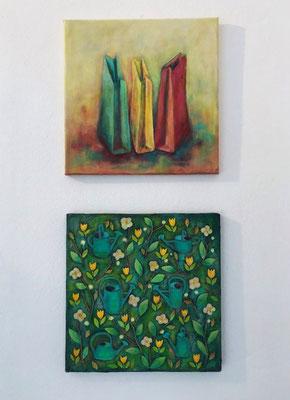 Tüten (Acryl) und Gießkannen - kleine Version (Mischtechnik, Collage, Acryl) by Angela Sandl