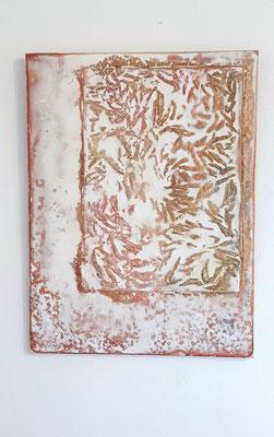 Materialcollage (Blüten, Acryl) by Margit Ingenfeld
