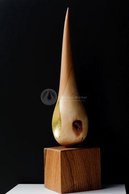 Himmelstropfen, Zwetschgenholz gewachst, mit 999er Feingold vergoldet, 33 cm