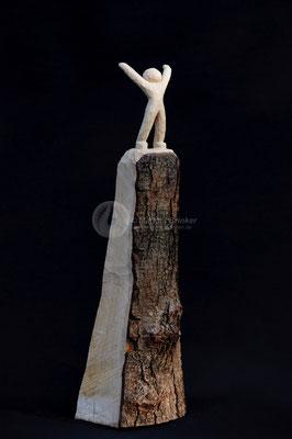 Himmelsstürmer, Erlenholz geölt (weißpigmentiert), 46 cm