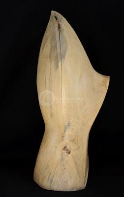 Skulptur mit Glas, Kastanienholz, geölt und gewachst, 115 cm