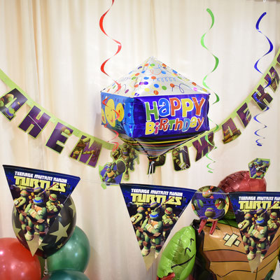 Воздушные шары с гелием и гирлянды на день рождения в стиле Черепашки Ниндзя - купить в Казани
