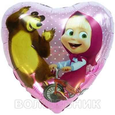 """Фольгированный воздушный шар сердце 18"""" Маша и Медведь купить в Казани"""