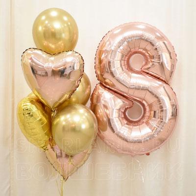 Букет золотых шаров с гелием с цифрой - купить в Казани